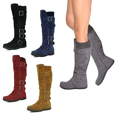 NEW Women Round Toe Strappy Buckle Slouch Riding Knee High Flat Heel Boots