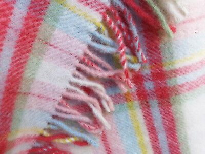 """Ikea pure Wool plaid red pink blue Blanket/Throw/bed cover  91"""" x 61"""" Excellent"""
