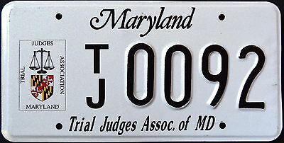 "MARYLAND "" TRIAL JUDGE "" VERY RARE "" MD Specialty License Plate"