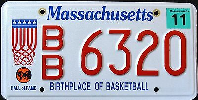 """MASSACHUSETTS """" BIRTHPLACE OF BASKETBALL HALL OF FAME MA Specialty License Plate"""