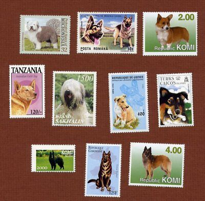 20 herding group dog postage stamps, all different, all MNH