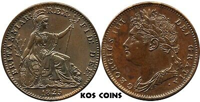 1825 George IV Farthing Copper coin UNC