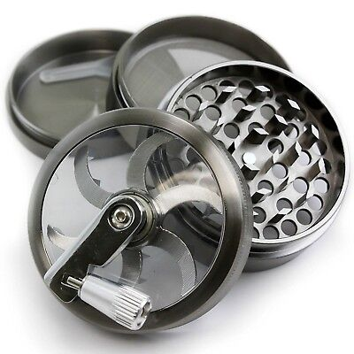 Chromium Crusher 2.5 Gun Metal 4 Piece Tobacco Spice Herb Grinder w/ Mill Handle