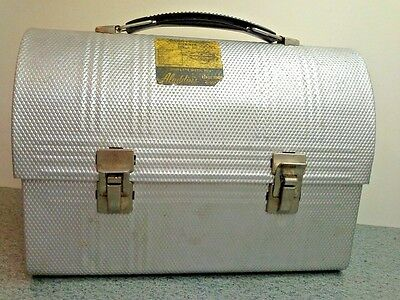 Vintage Textured Aluminum Domed ALADDIN'S LUNCH BOX With Original Label