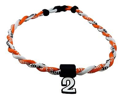 (Orange White) - Pick Your Number - Twisted Titanium Sports Tornado Necklace