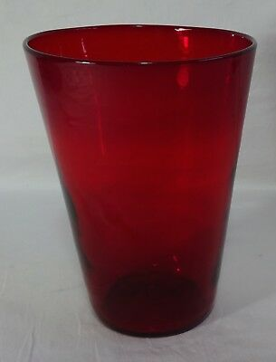 Vintage Ruby Red Glass Glass Vase Medium Great Condition 7