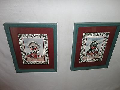 Home Interiors ''Birdhouse & Apples '' Pictures  2pc Set  Gorgeous 11'' x 13.5''