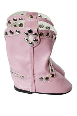 """Doll Clothes 18"""" Boots Cowgirl Studded Pink Fits American Girl Dolls"""