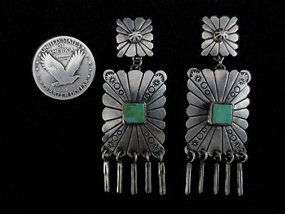 Navajo Earrings - Coin Silver and Turquoise