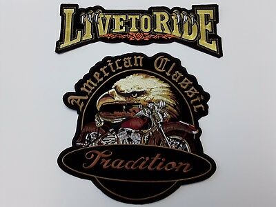 1+1 pc NEW LIVE TO RIDE + AMER CLASSIC BIKER EMB PATCHES SEW/IRON-ON
