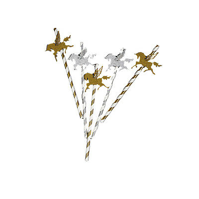 New 25x Gold Paper Straw with Gold Glitter Unicorn For Kids Birthday Party Decor
