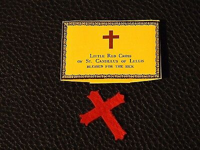 Catholic Holy Relic reliquar Saint Camillus Blessed Little Red Cross for Healing