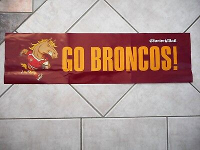 Maroon Go Broncos Paper Banner Sign Buck the Horse NRL Rugby League Brisbane