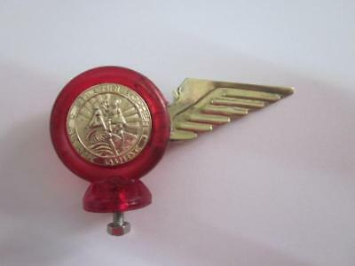 Biemme Ulma St Christopher Lamp Mascot Red with Brass Emblem Clear Horns