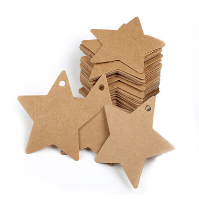 50pcs DIY Gift Wrap Tags Star Kraft Paper Labels Party Gift Card Price Tags