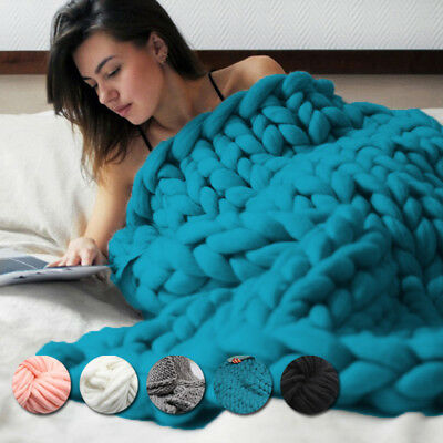 5 Colors Große Warme Chunky Strickdecke Thick Garn Wolle Bulky Knitted Throw