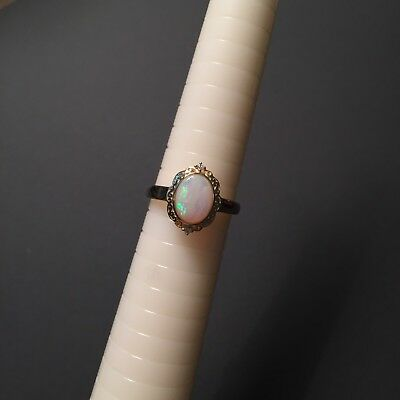 Lovely Solid Opal Ring set 9K Gold W/Ground Brilliant CUT 0.02CT Diamond #60487