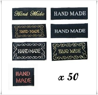 50x HAND MADE Labels Black Sew On tags Craft Hobbies Clothing Sewing