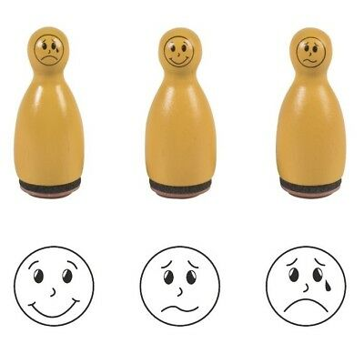 "Lot de 3 Tampons Pions ""Smiley"" - Orange"