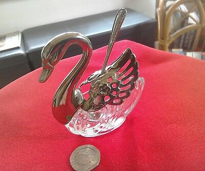 Beautiful Italian silver plate & glass swan  salt cellar