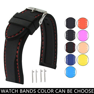 Black Divers Rubber Silicone Band Watch Strap Quick Spring Bars 18 20 22 24mm