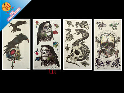 Temporary Waterproof Fake Body Art Tattoo Sticker (4-Design Skull) CA