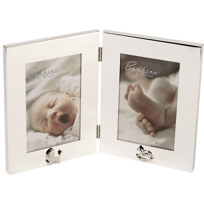 Bambino Silver Plated Double Photo Frame 4 x 6 New Baby Twins Gift