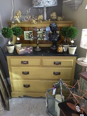 Edwardian Marble Top drawers  Tiled Upstand - Mustard Yellow Annie Sloan
