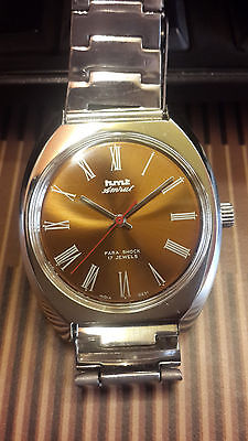 Hmt Amrut Brown Dial Hand Wound 17 Jewels Nos New Old Stock Rare Vintage Watch