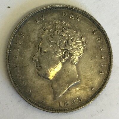 Antique George IIII IV Georgian Silver 1825 One Shilling Coin