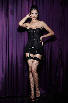 SALE 50% OFF!! Black Womens Classic Flowers Corset Set with Suspender Strips