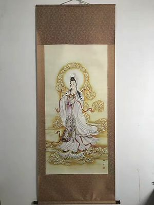 Excellent Chinese Ancient Paper Painting Kwan-yin Statue Scroll