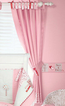 Tab Top Hugs and Kisses fully lined curtains with tie backs