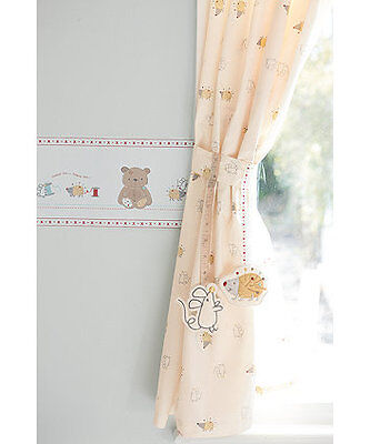 Precious bear tab top curtains with tie backs BNWT