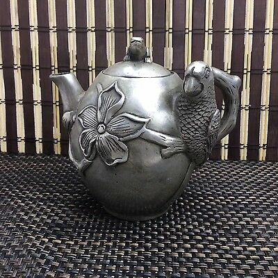China Decorated Old Handwork white copper Carved bird flower Shape TeaPot