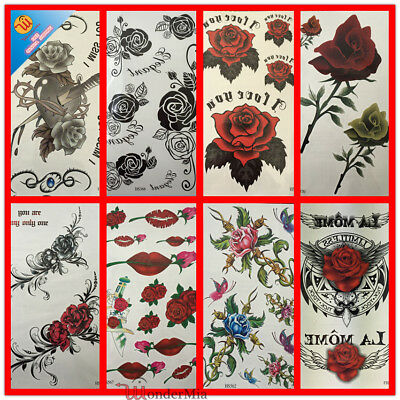Temporary Waterproof Fake Body Art Tattoo Sticker (9-Design Roses) CA