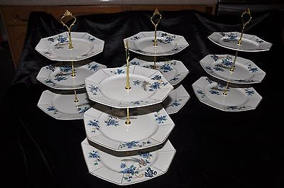 3 tier cake stand blue floral design with gold trim 1920's plates