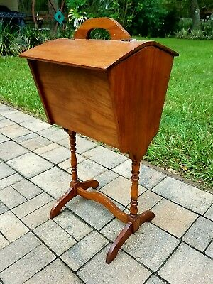 Antique farmhouse sewing cabinet box floor stand wood arts & crafts