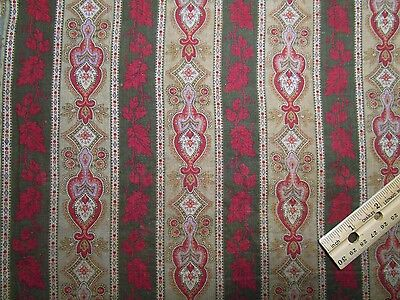 "Antique Fabric 1800/Civil war Turkey Red, Eggplant Fugitive Purple 25"" selvages"