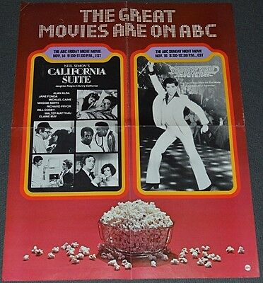 SATURDAY NIGHT FEVER 1980's ORIG. 17x22 PROMOTIONAL POSTER! ABC-TV FIRST SHOWING