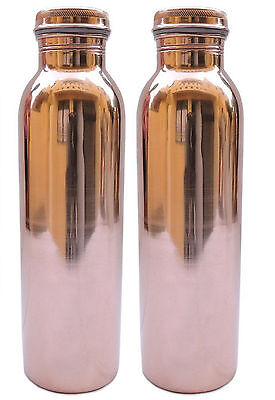 Set of 2 Indian Handmade Jointless Pure Solid Copper Bottle Pcs Water Storage