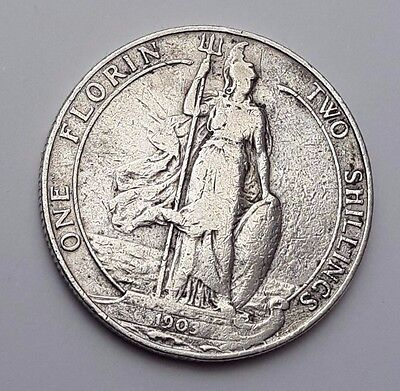 Dated : 1903 - Silver Coin - Two Shillings / One Florin - King Edward VII