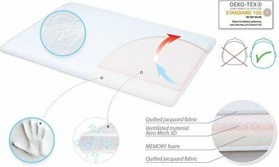 Memory Foam Baby Pillow Anti Flat Head Syndrome Breathable Size 40 x 26