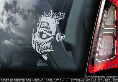 Iron Maiden 'Eddie'- Car Window Sticker -Somewhere In Time Cyborg Robot Head v09