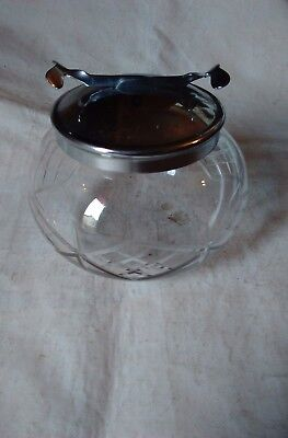 Vintage Glass Sugar Bowl With Pascal Integral Tongs With Silver Plate Lid