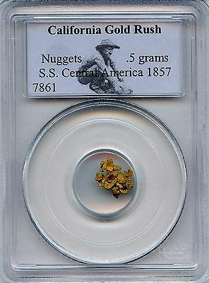 Gold Nuugets(.5 grams) S.S. Central America 1857.  PCGS Certified.