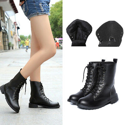 Women Fleece Ankle Military Boots Lace-up Army Combat Black Punk Shoes Chunky