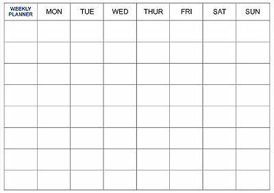 Dry Wipe Laminated WEEKLY PLANNER Office Organiser - A2, A1, A0 sizes