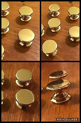 6 Knobs Pulls Flat Top Heavy Round Full Brass Pedestal Cabinet Drawer Vintage