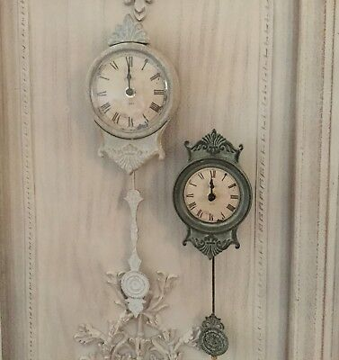 French Antique Chic Style Pendulum Wall Clock Grey Or Verdigris Shabby Distress